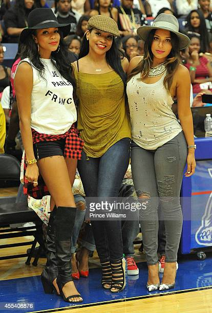 Letoya Luckett Monyetta Shaw and Eudoxie Agnan attend the LUDA vs YMCMB celebrity basketball game at Georgia State University Sports Arena on August...