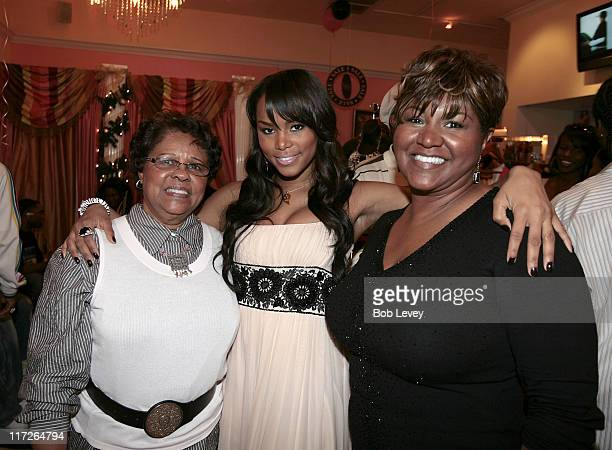 LeToya Luckett with her mother and grandmother during LeToya Luckett Hosts A Pink Christmas At Her Lady Elle Boutique at Lady Elle Boutique in...