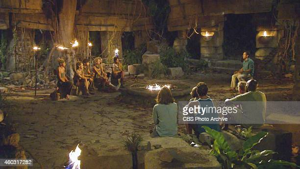 'Let's Make a Move' Jeff Probst addresses the remaining survivors at Tribal Council during the thirteenth episode of Survivor 29 Wednesday December...