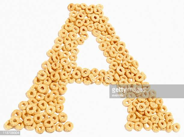 letter A, alphabet of food cut out on white