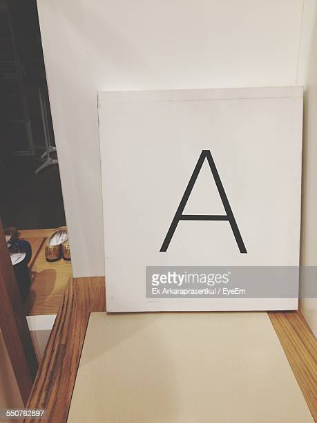 Letter A Written On Placard