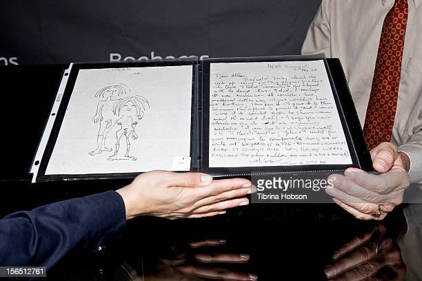 A letter and drawing by John Lennon on display durning the Bonhams media preview day for memorabilia of silver screen and rock n' roll icons at...