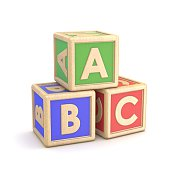 Letter blocks ABC. 3D render illustration isolated on white background