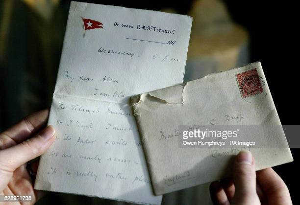 A letter dated April 10 written on board the RMS Titanic at Tennants auctioneers in Leyburn North Yorkshire that is expected to fetch up to 20000 an...