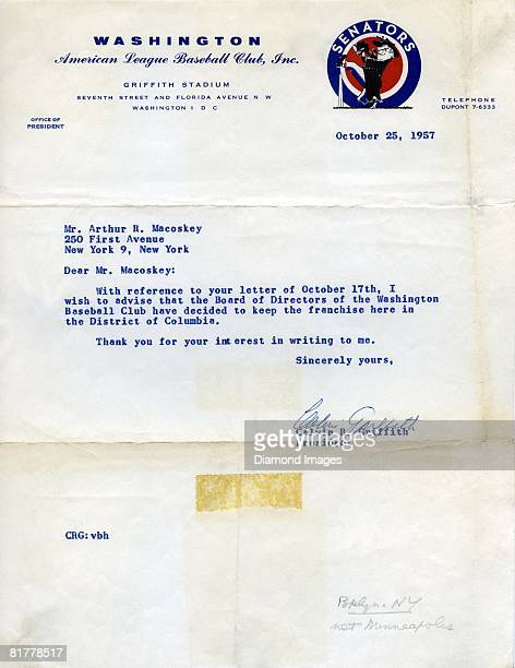 A letter dated October 25 1957 from president Calvin Griffith of the Washington Senators on Senators' letterhead to a fan states that the Board of...