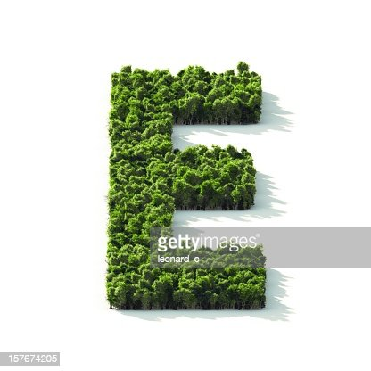 Letter E : Perspective View : Stock Photo