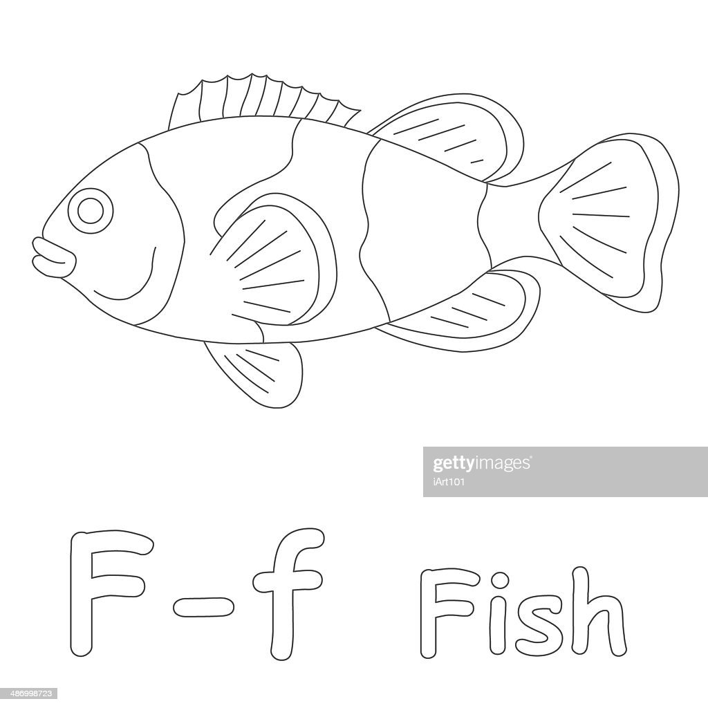 letter f for fish coloring page stock photo getty images
