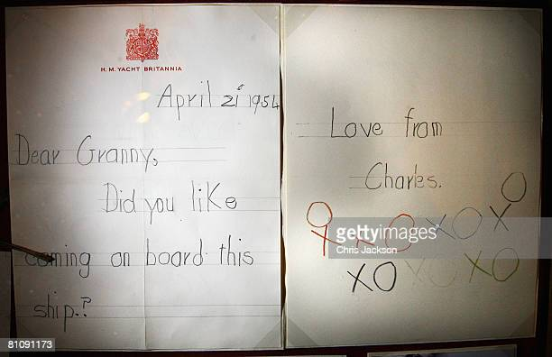 A letter from a young Prince of Wales to the Queen is seen at an exhibition to celebrate his 60th Birthday in Windsor Castle on May 15 2008 in...