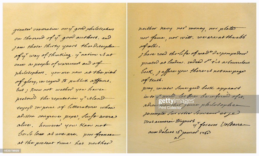 Letter From Francois Marie Arouet De Voltaire To George Keat, 16Th