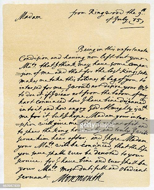 Letter from James Duke of Monmouth to the Catherine of Braganza Ringwood 9th July 1685 Letter from James Duke of Monmouth to the Queen Dowager...