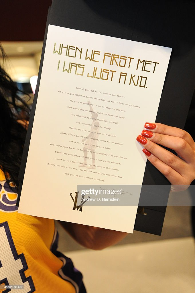 A letter from Kobe Bryant #24 of the Los Angeles Lakers to the fans is displayed before the game against the Indiana Pacers on November 29, 2015 at STAPLES Center in Los Angeles, California.