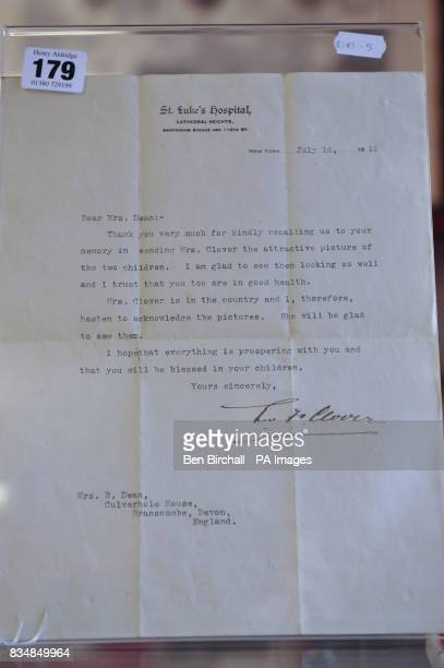 A letter from Rev F Clover to Mrs Dean dated July 16th 1912 thanking her for kindly recalling him and his wife and for sending a photo of Bertram and...