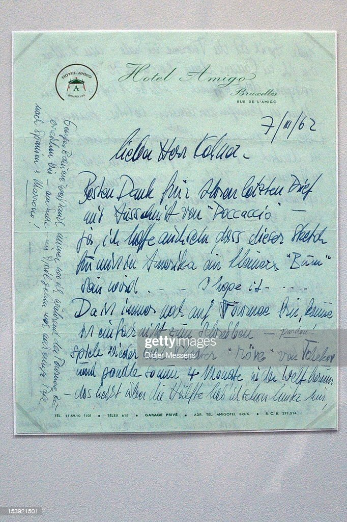 A letter from Romy Schneider to Paul Kohner is shown as part of The Romy Schneider Exhibition at Caermersklooster on October 11, 2012 in Ghent, Belgium.