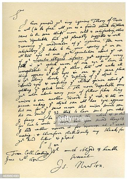 Letter from Sir Issac Newton to William Briggs 20th June 1682 Letter written from Trinity College Cambridge by Newton to William Briggs MD commending...