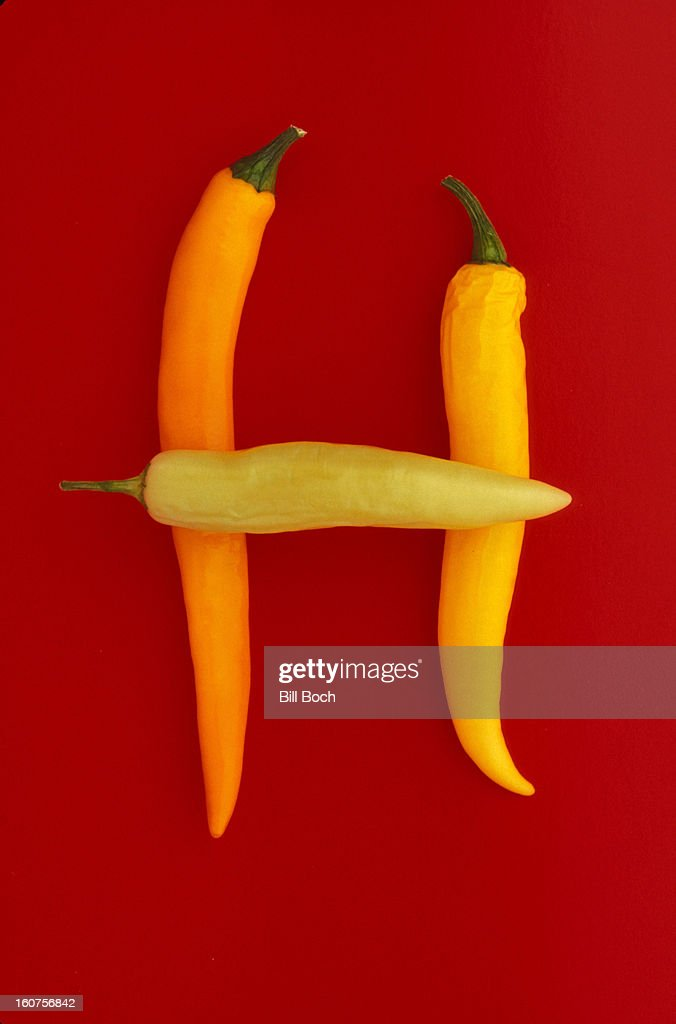Letter H made from hot peppers : Stock Photo