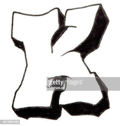 buchstabe k alphabet im graffitistil stockfoto thinkstock
