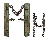 letter M from rusty old chains and rotten wooden leash, isolate on white background