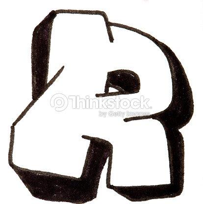 Letter R Alphabet In Graffiti Style Stock Photo