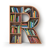 Letter R in the form of shelves with books isolated on white. 3d illustration