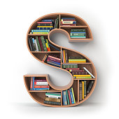 Letter S in the form of shelves with books isolated on white. 3d illustration