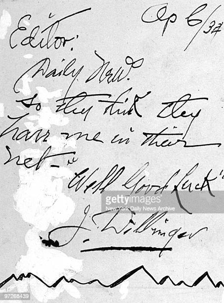 Letter sent to the Daily News by John Dillinger