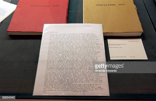 A letter written by director Francis Ford Coppola and 'Apocalypse Now' scripts belonging to the late acting legend Marlon Brando is displayed at the...