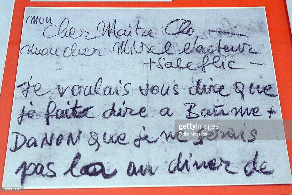 A letter written by Romy Schneider is shown as part of The Romy Schneider Exhibition at Caermersklooster. In letter she explains that the refused to go to a diner because the technical people where not invited to the diner. on October 11, 2012 in Ghent, Belgium.