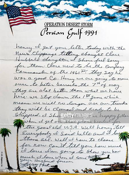 A letter written on unique letterhead from the Persian Gulf War is photographed Tuesday October 29 2013 in Washington DC Andy Carroll says that after...