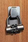 Lettered combination money lock