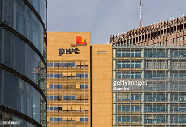 Lettering and logo PriceWaterhouseCoopers PWC on a office building at the Potsdamer Platz quarter Mitte district Berlin
