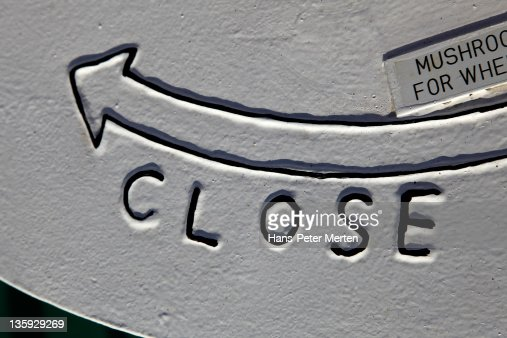 lettering close at a cargo vessel : Stock Photo