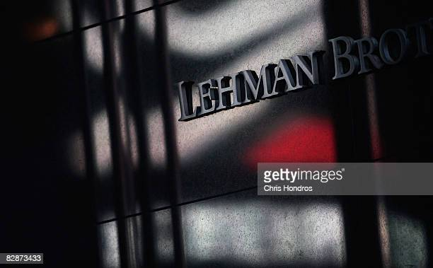 Lettering is seen on the outside the headquarters of the financial firm Lehman Brothers Holdings Inc September 15 2008 in New York City Lehman...