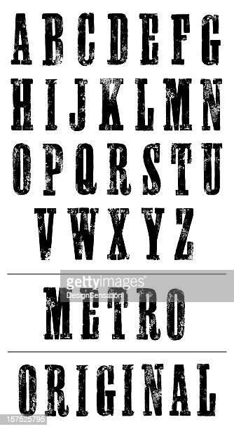 Typographie affiche police (Serif) imprimé à la main Alphabet (XXXL