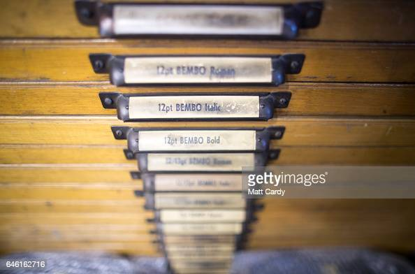 Letterpress printer Stan Lane looks through boxes of different fonts at Gloucester Typesetting Services in Stonehouse on February 27 2017 in...