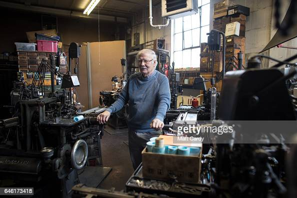 Letterpress printer Stan Lane who runs the last commercial Monotype business in Britain prepares a composition caster as he works on a limited...