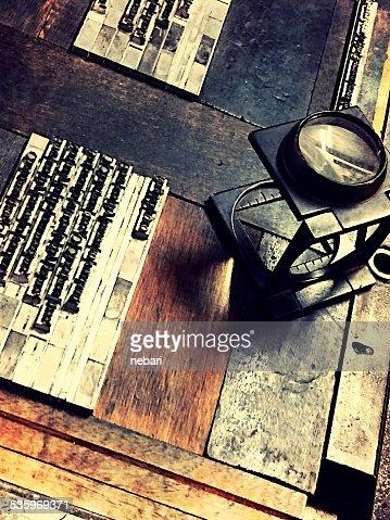Letterpress still life : Stock Photo