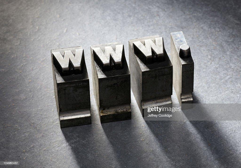 WWW Letterpress type : Stock Photo