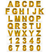 letters and numbers 3d golden isolated on white - 3d rendering