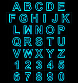 letters and numbers neon lights outlined isolated on black background