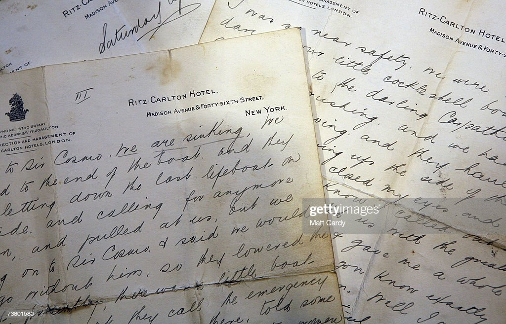 Letters from Titanic survivor Miss Mabel Francatelli are displayed as a Titanic life-preserver, which was worn by Miss Francatelli, is presented before going up for auction on April 4 2007 in London. The life-preserver is part of a Maritime sale of memorabilia from the 1912 disaster and is estimated to sale for 50,000 to 80,000 pounds.