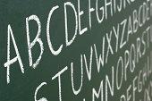 ABC letters on a blackboard