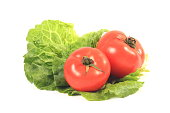 Lettuce and tomatos on white background