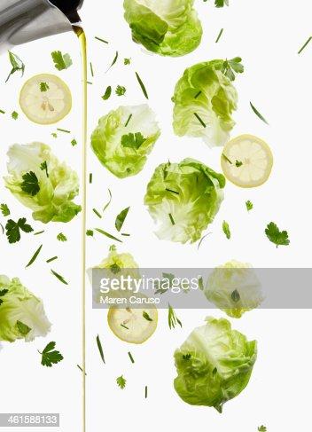 Lettuce, Lemon, and Oil Dressing Pour