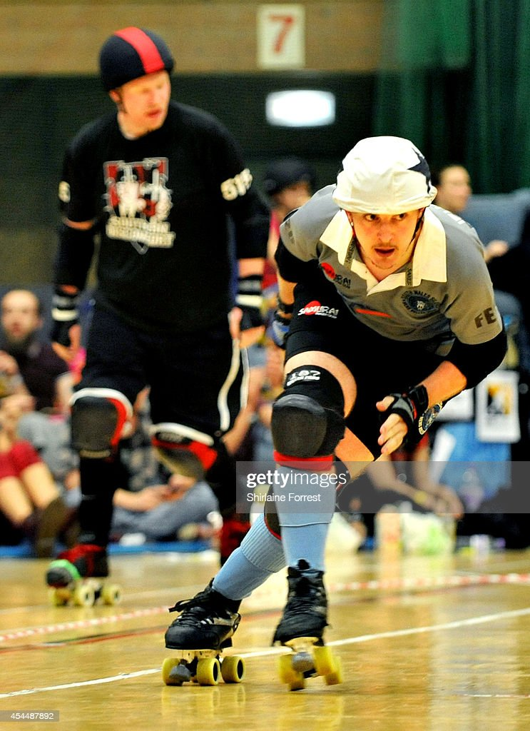 Leuan Man of South Wales Silures bouts in the Men's European Cup roller derby tournament at Walker Activity Dome on August 31, 2014 in Newcastle upon Tyne, England.