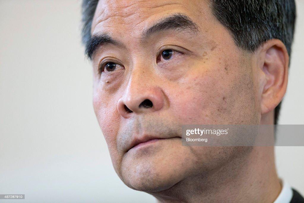 Leung Chunying Hong Kong's chief executive listens during a news conference at the Government House in Hong Kong China on Thursday Oct 16 2014 Leung...