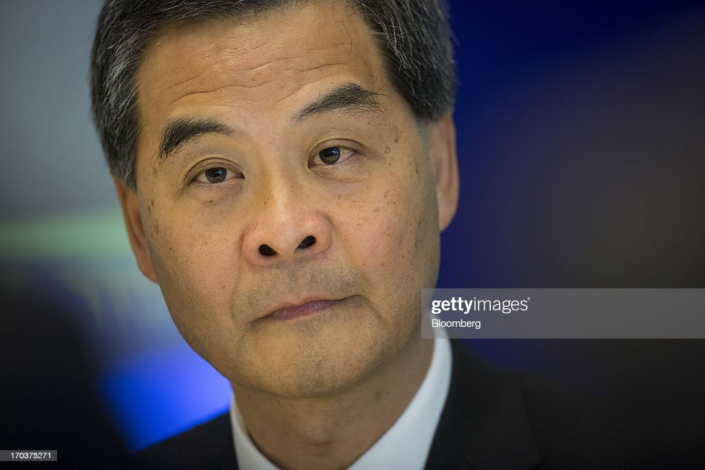 Leung Chun-ying, Hong Kong's chief executive, pauses during an interview in New York, U.S., on Wednesday, June 12, 2013. Leung, currently on an official visit to New York, declined to answer questions by reporters about how his government would handle the case of Edward Snowden, the 29-year-old U.S. contractor who says he leaked details of an electronic surveillance program. Snowden may be seeking legal help in Hong Kong after checking out of a hotel in the Chinese city on Monday. Photographer: Scott Eells/Bloomberg via Getty Images