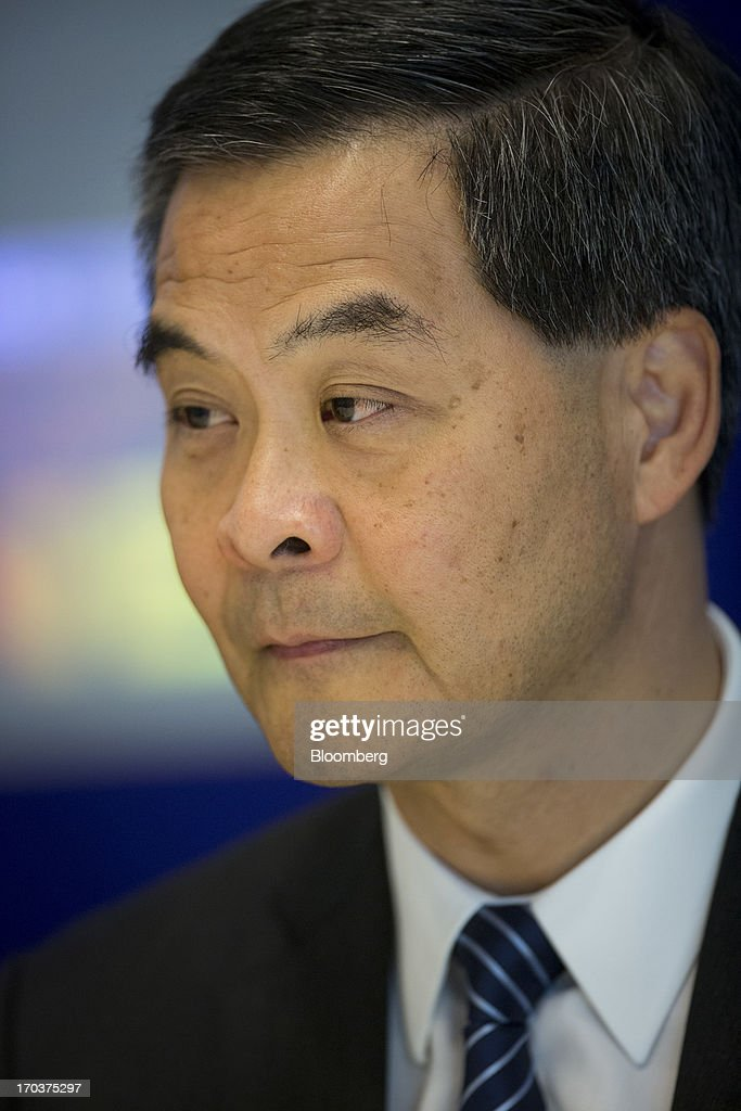 <a gi-track='captionPersonalityLinkClicked' href=/galleries/search?phrase=Leung+Chun-ying&family=editorial&specificpeople=2496883 ng-click='$event.stopPropagation()'>Leung Chun-ying</a>, Hong Kong's chief executive, pauses during an interview in New York, U.S., on Wednesday, June 12, 2013. Leung, currently on an official visit to New York, declined to answer questions by reporters about how his government would handle the case of Edward Snowden, the 29-year-old U.S. contractor who says he leaked details of an electronic surveillance program. Snowden may be seeking legal help in Hong Kong after checking out of a hotel in the Chinese city on Monday. Photographer: Scott Eells/Bloomberg via Getty Images