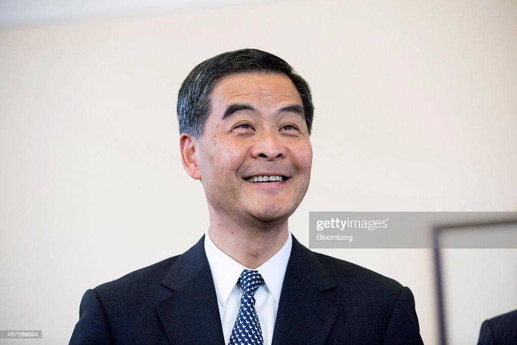 Leung Chunying Hong Kong's chief executive reacts during a news conference at the Government House in Hong Kong China on Thursday Oct 16 2014 Leung...