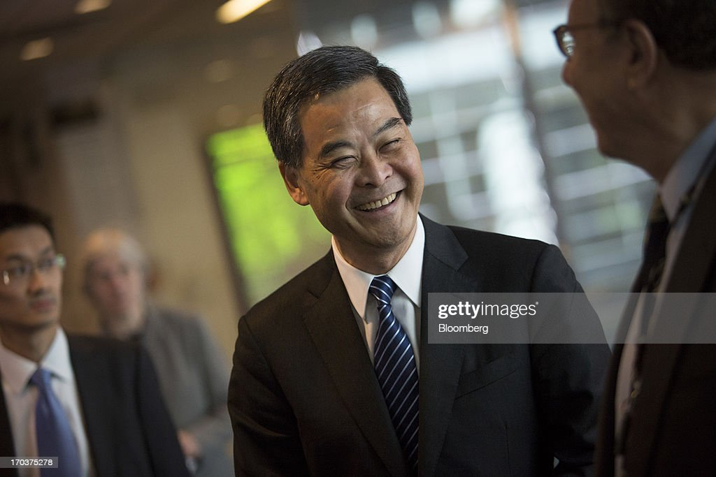 <a gi-track='captionPersonalityLinkClicked' href=/galleries/search?phrase=Leung+Chun-ying&family=editorial&specificpeople=2496883 ng-click='$event.stopPropagation()'>Leung Chun-ying</a>, Hong Kong's chief executive, smiles after an interview in New York, U.S., on Wednesday, June 12, 2013. Leung, currently on an official visit to New York, declined to answer questions by reporters about how his government would handle the case of Edward Snowden, the 29-year-old U.S. contractor who says he leaked details of an electronic surveillance program. Snowden may be seeking legal help in Hong Kong after checking out of a hotel in the Chinese city on Monday. Photographer: Scott Eells/Bloomberg via Getty Images