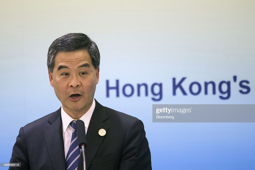 Leung Chun-ying, Hong Kong's chief executive, speaks during a session at the Boao Forum for Asia in Boao, Hainan, China, on Thursday, April 10, 2014. The Boao Forum for Asia takes place from April 8-11. Photographer: Brent Lewin/Bloomberg via Getty Images